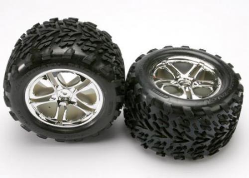 Traxxas Talon Tyres Pre-Glued On Split Spoke Chrome Wheels (pair)
