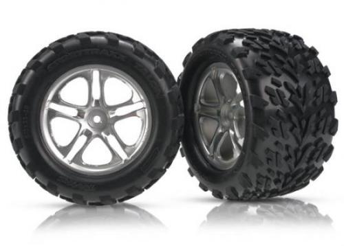 Traxxas Talon Tyres Pre-Glued On Split Spoke Satin Chrome Wheels (pair)