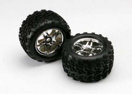 Traxxas Talon Tyres Pre Mounted on 17mm Hex Chrome Wheels (2)