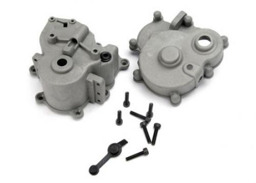 Traxxas Gearbox halves (front rear)/ rubber access plug/ shift detent ball/ spring/ 4mm GS/ shift shaft seal glued