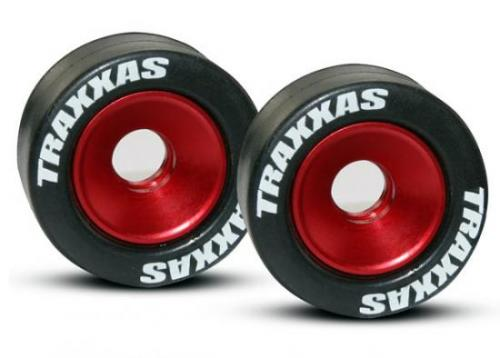Traxxas Rubber Tires Mounted on Red-Anodized Wheelie Bar Wheels (2)/ 5x8mm Ball Bearings (4)/ Axles (2)