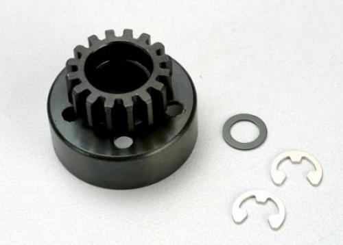 Traxxas Clutch bell (15-tooth)/5x8x0.5mm fiber washer (2)/ 5mm e-clip (requires 5x11x4mm ball bearings part 4611) (1.0 metric pitch)