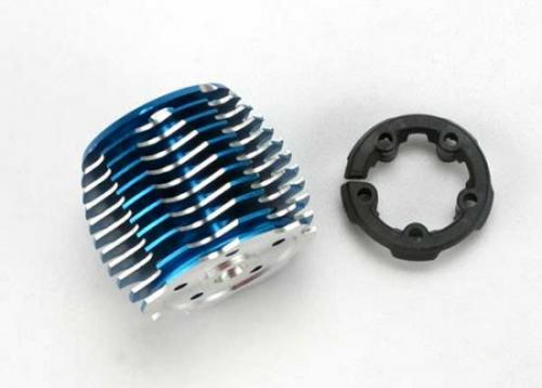 Traxxas Cooling head PowerTune (machined aluminum blue-anodized) (TRX 2.5 and 2.5R)/ head protector (plastic)