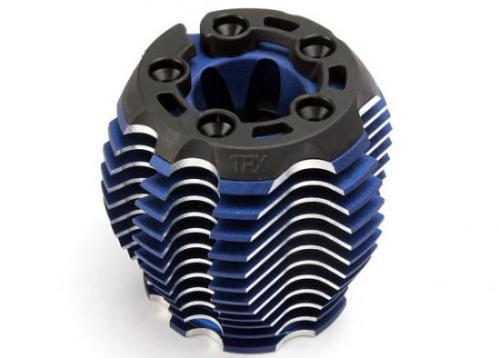 Traxxas Cooling head PowerTune (machined aluminum blue-anodized) (TRX 3.3) head protector (1) 3x6mm CCS (5)