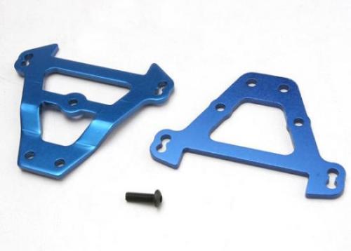 Traxxas Bulkhead tie bars front rear (blue-anodized aluminum)
