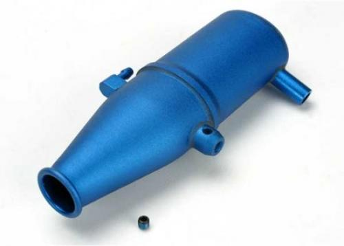 Traxxas Tuned pipe aluminum blue-anodized (dual chamber with pressure fitting)/ 4mm GS