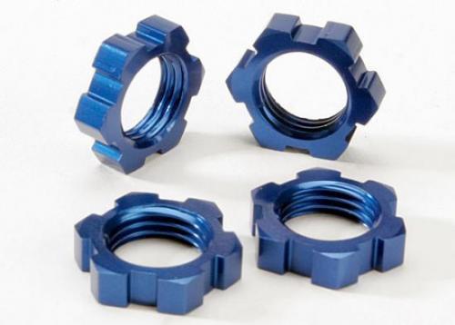 Traxxas Wheel nuts splined 17mm (blue-anodized) (4)