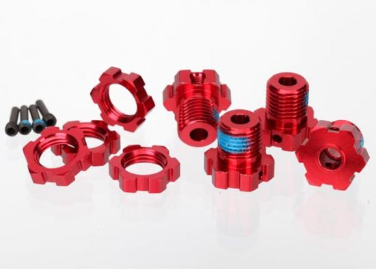 Traxxas Red-anodized aluminum 17mm splined wheel hubs and hex nuts