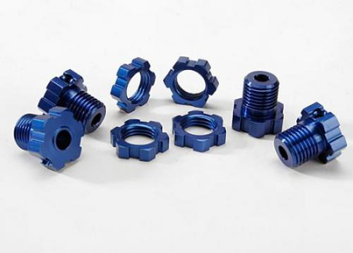 Traxxas Blue-anodized aluminum 17mm splined wheel hubs and hex nuts