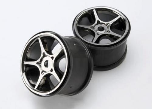 Traxxas Gemini 3.8 Wheels (black chrome) (2) (use with 17mm splined wheel hubs nuts part 5353X)