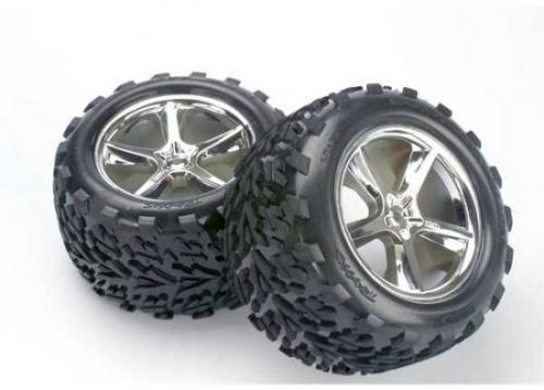 Traxxas Talon Tyres Pre-Glued On Gemini Chrome Wheels - Pair