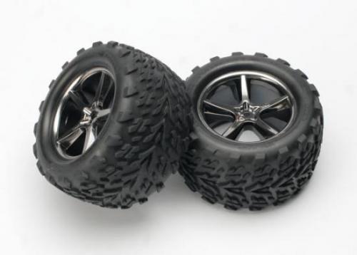 Traxxas Talon Tyres Pre-Glued On Black Gemini Chrome Wheels - Pair