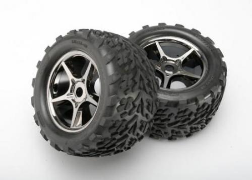 Traxxas Talon tires Gemini black chrome wheels foam inserts (assembled glued) (2) (use with 17mm splined wheel hubs nuts) (TSM rated)