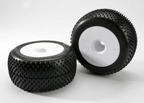 "Traxxas Response Pro Tyres - Pre Glued On 3.8"" White Dish Wheels - 17mm Traxxas Splined Fitting - Pair"