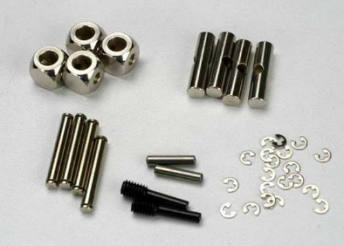 Traxxas U-joints driveshaft (carrier (4)/ 4.5mm cross pin (4)/ 3mm cross pin (4)/ e-clips (20)) (metal parts for 2 driveshafts)