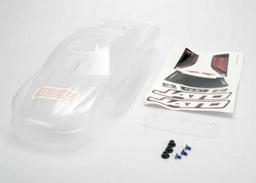 Traxxas Clear Jato Body (requires painting)/window lights decal sheet/ wing and aluminum hardware