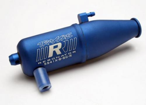 Traxxas Tuned pipe Resonator R.O.A.R. legal blue-anodized (aluminum single chamber) (fits Jato N. Rustler N. 4-Tec with TRX Racing Engines)