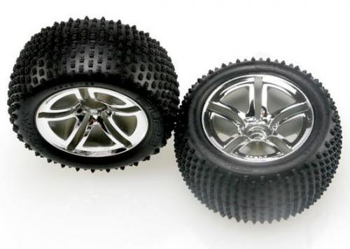 Traxxas Alias tires Twin-Spoke chrome wheels foam inserts (assembled and glued) (nitro rear) (2)