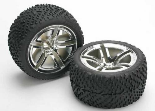 Traxxas Victory Tyres Pre Glued On Twin Spoke Chrome Wheels - 12mm Hex Fit
