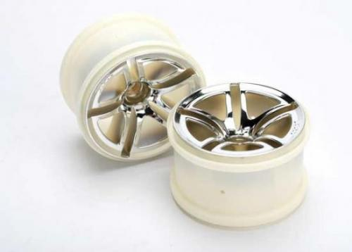 Traxxas Twin Spoke Chrome Wheels - 2.8 Inch Diameter - Bearing Fit