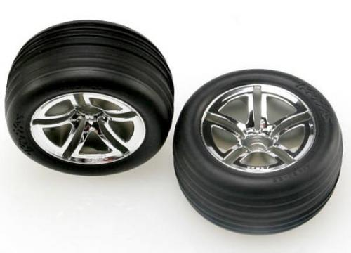 Traxxas Alias ribbed tires Twin-Spoke wheels foam inserts (assembled and glued) (nitro front) (2)
