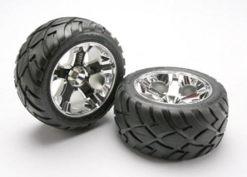 Traxxas Anaconda Tyres Pre Glued On All Star Chrome Wheels - Bearing Fit