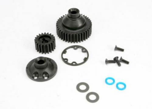 Traxxas Gears differential 38-T (1)/ differential drive gear 20-T/ side cover plate (1)/ gasket (1)/ output gear seals (x-ring) (2)/ 2.5x8mmCCS (4)/ 5x10x.5mmTW (2)
