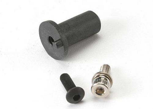 Traxxas Motor mount hinge post/ 4x12mm BCS (1)/ 4x10mm CS with split and flat washer (1)