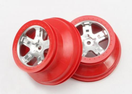 Traxxas Short Course Chrome SCT Wheels - Red Beadlock - 12mm Hex (2)