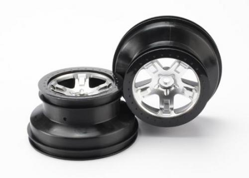 Traxxas Short Course Chrome SCT Wheels - Black Beadlock - 12mm Hex (2)