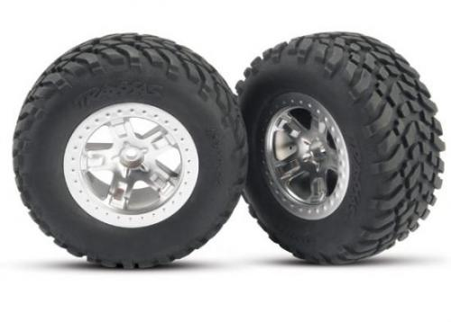 Traxxas SCT Short Course Tyres on SCT Chrome/Chrome Wheels - 12mm Hex (2)