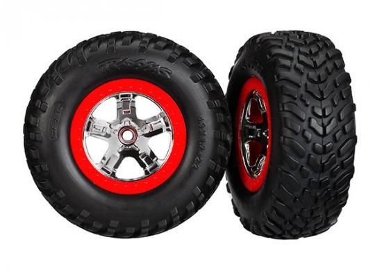 Traxxas Tires wheels assembled glued (S1 compound) (SCT chrome wheels red beadlock style dual profile (2.2 outer 3.0 inner) SCT off-road racing tires foam inserts) (2) (4WD f/r 2WD rear) (TSM rated)