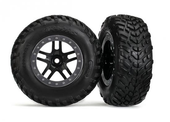 Traxxas Tires wheels assembled glued (SCT Split-Spoke black satin chrome beadlock style wheels dual profile (2.2 outer 3.0 inner) SCT off-road racing tires foam inserts) (2) (2WD front)