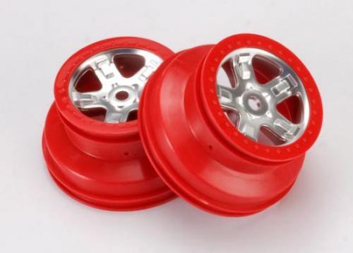 Traxxas SCT Short Course 2.2/3.0 Chrome Wheels - Red Beadlock - 14mm Hex (2)