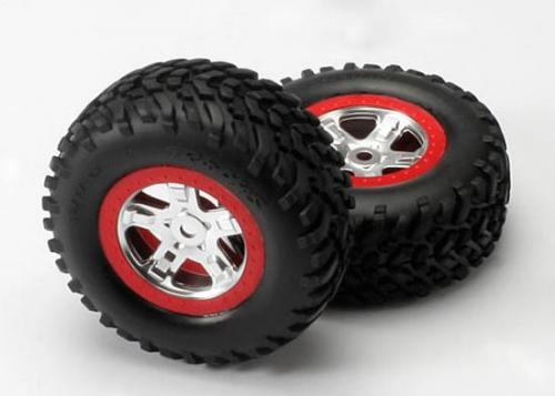 Traxxas SCT Tyres Mounted on SCT Chome/Red Beadlock Wheels - 14mm Hex (2)