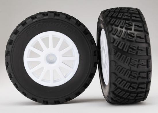 Traxxas Tires wheels assembled glued (White wheels BFGoodrich Rally gravel pattern tires foam inserts) (2) (TSM rated)