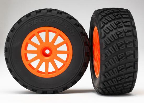 Traxxas Tires wheels assembled glued (orange wheels BFGoodrich Rally gravel pattern tires foam inserts) (2) (TSM rated)