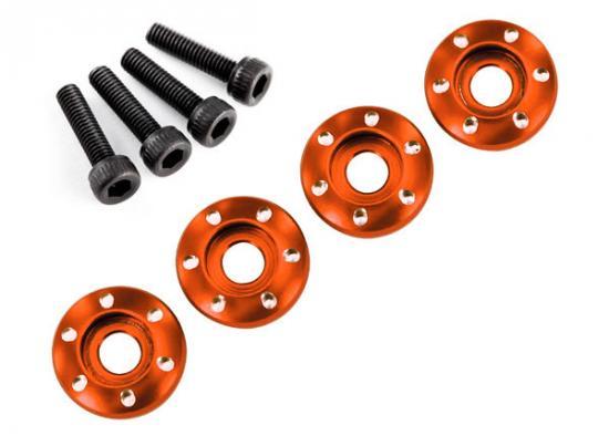 Wheel nut washer - machined aluminum - orange / 3x12mm CS (4)