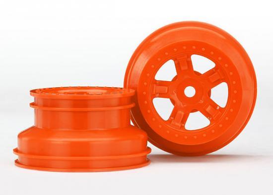 Traxxas Wheels SCT orange beadlock style dual profile (1.8 inner 1.4 outer) (2)