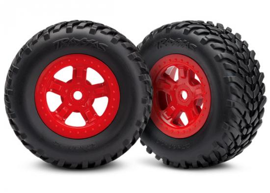 Traxxas Tires and wheels assembled glued (SCT red wheels SCT off-road racing tires) (1 each right left)