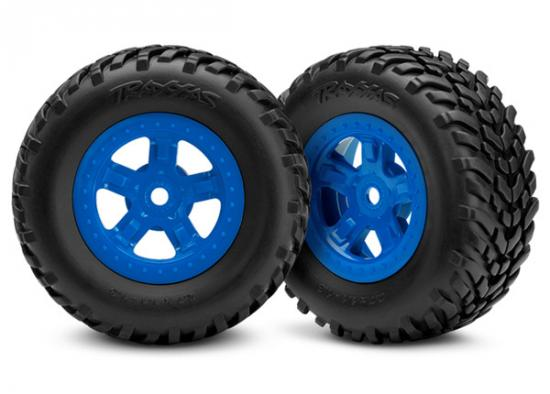 Traxxas Tires and wheels assembled glued (SCT blue wheels SCT off-road racing tires) (1 each right left)