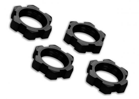 Traxxas Wheel nuts splined 17mm serrated (black-anodized) (4)