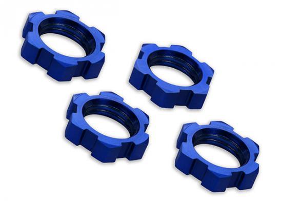 Traxxas X-MAXX Wheel nuts splined 17mm serrated (blue-anodized) (4)