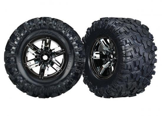 Traxxas MAXX AT Tyres Pre Glued on Black Chrome X-MAXX Wheels (2)