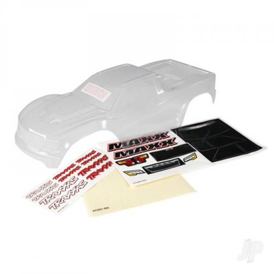 Traxxas Body, Maxx (clear, untrimmed, requires painting) / window masks / decal sheet