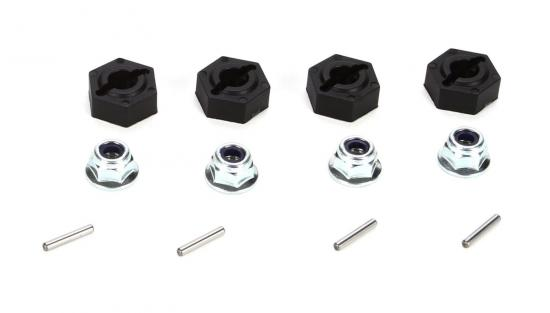 Vaterra Twin Hammers 12mm Moulded Hex Pins & Lock Nuts (4)