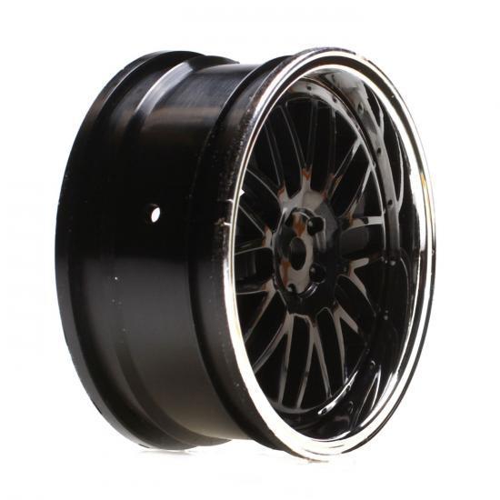 Vaterra Touring Car Front Black Chrome Deep Mesh Wheel 54x26mm (2)