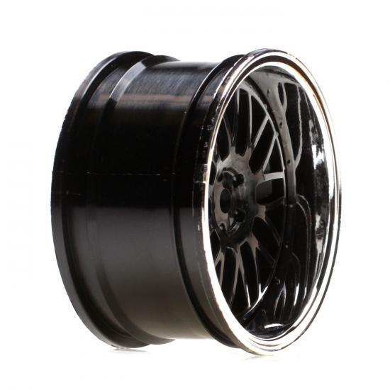 Vaterra Touring Car Rear Black Chrome Deep Mesh Wheel 54x30mm (2)
