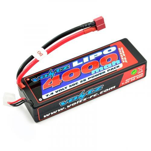 Voltz 4000mAh Hard Case LiPo - 7.4v 2S 50C - Deans