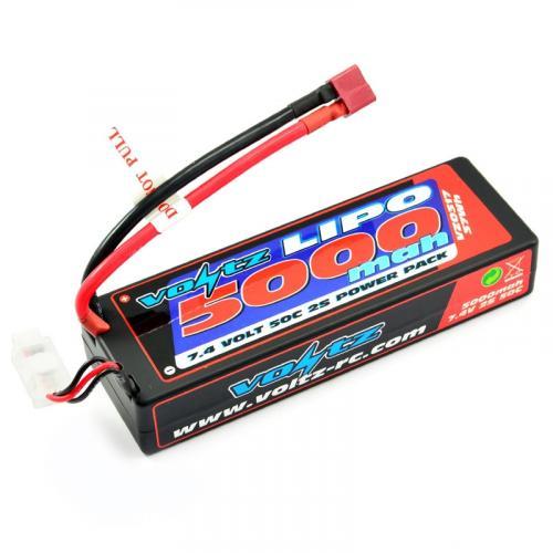 Voltz 5000mAh Hard Case LiPo - 7.4V 2S 50C - Deans